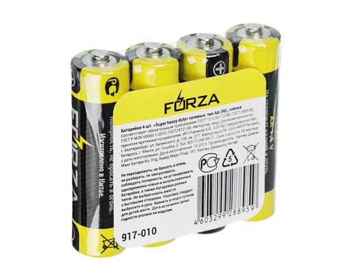 "Батарейка FORZA ""Super heavy duty"" солевая, тип AA (R6), S4"