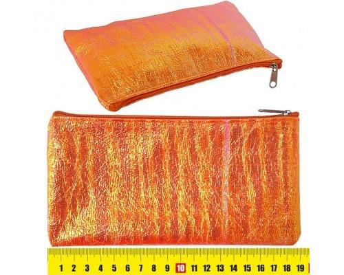 """Кан.Пенал мягкий плоский 19х10см, """"Неон"""", фольгированная ткань, оранжевый К-JMPG006-8 д/девочки"""